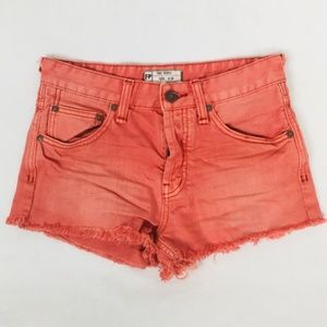 Free People Coral Button Fly Cutoff Fray Hem Short